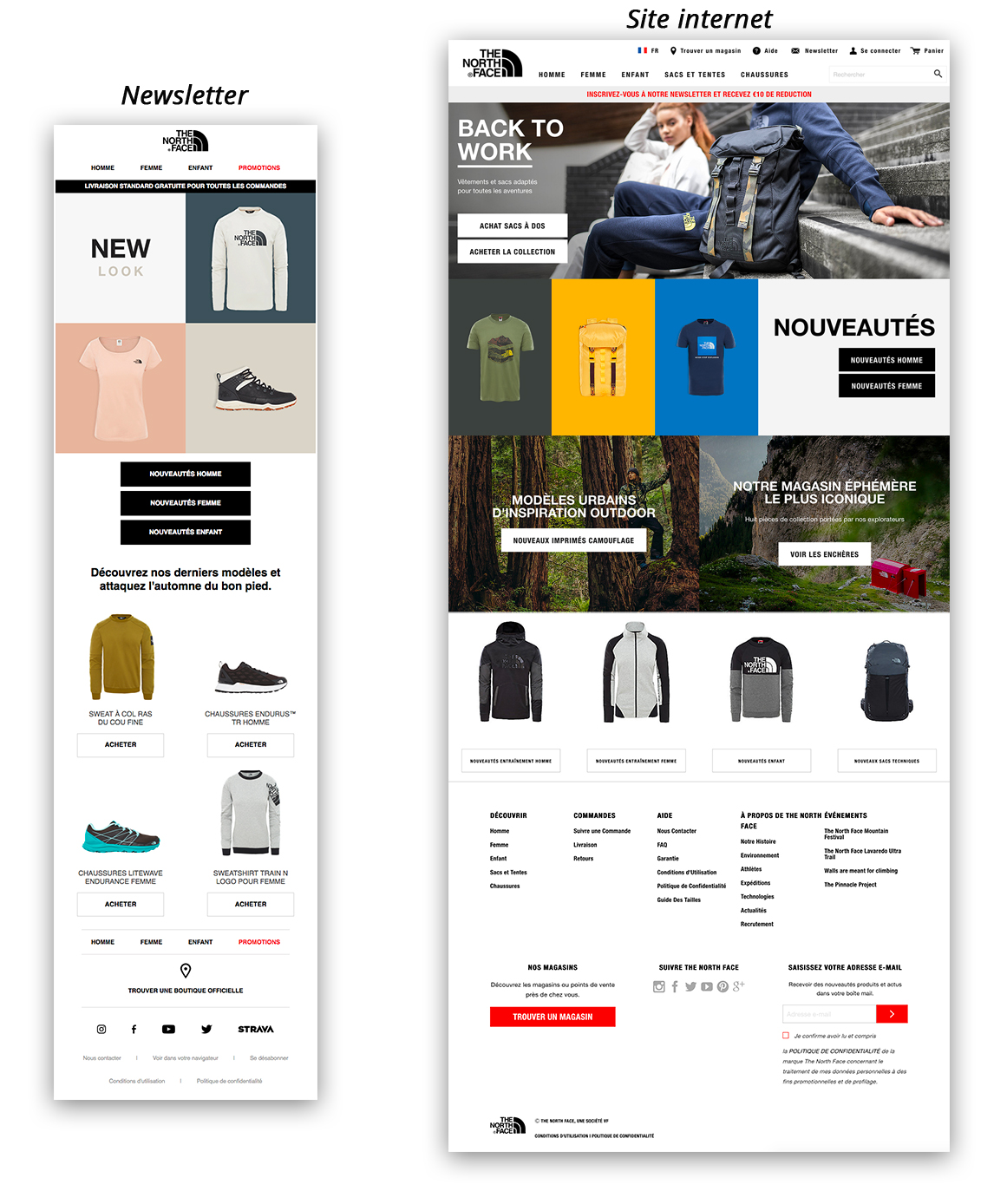 The North Face - email et site